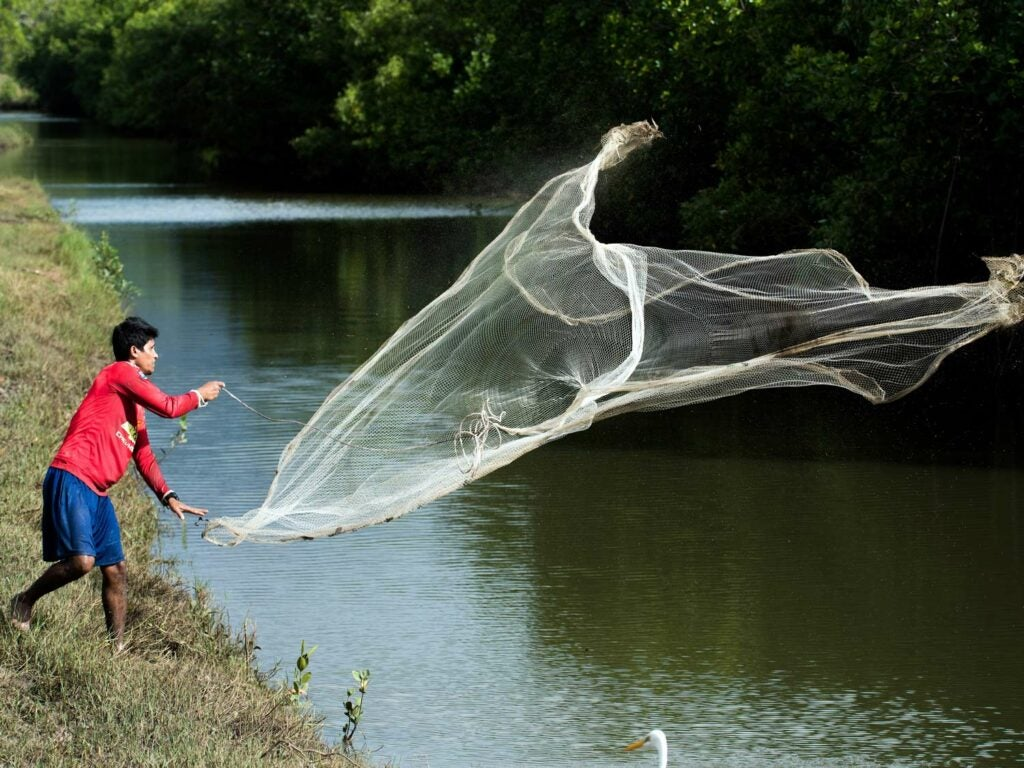 man casting a net in a river