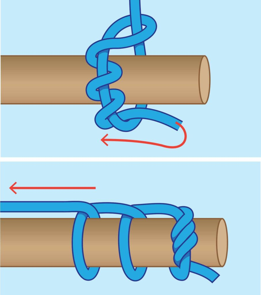 A step-by-step drawing of how to tie the killick hitch.