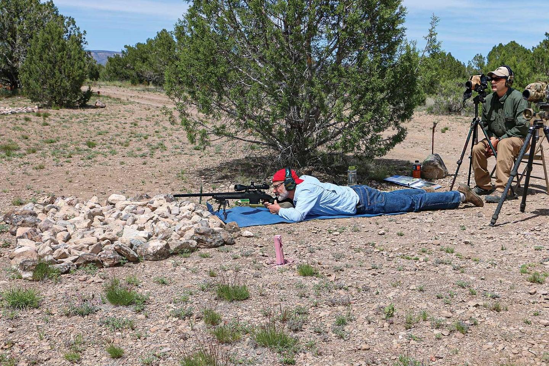 a long range shooting aiming prone