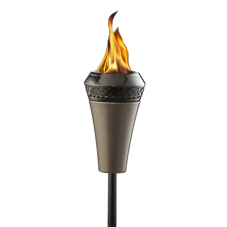 Tiki torch with gunmetal finish