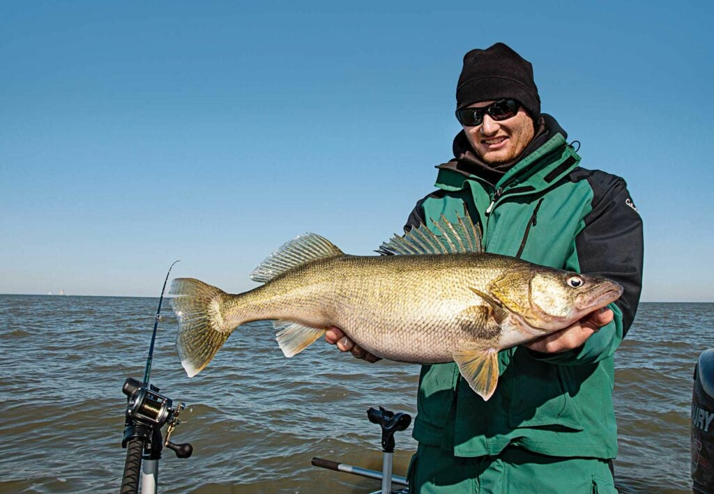 The author with a 10-pound walleye trolled on a stickbait in April.