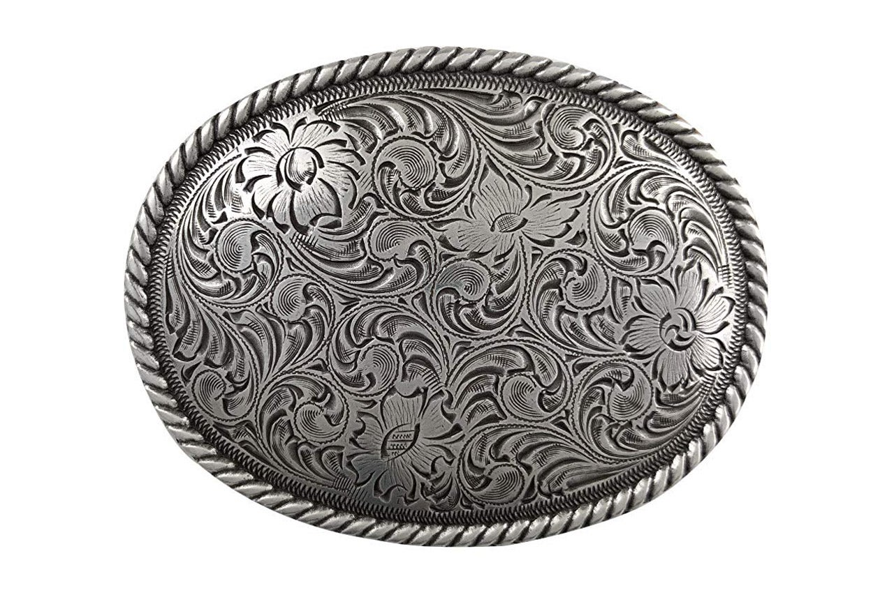 sterling silver plated belt buckle
