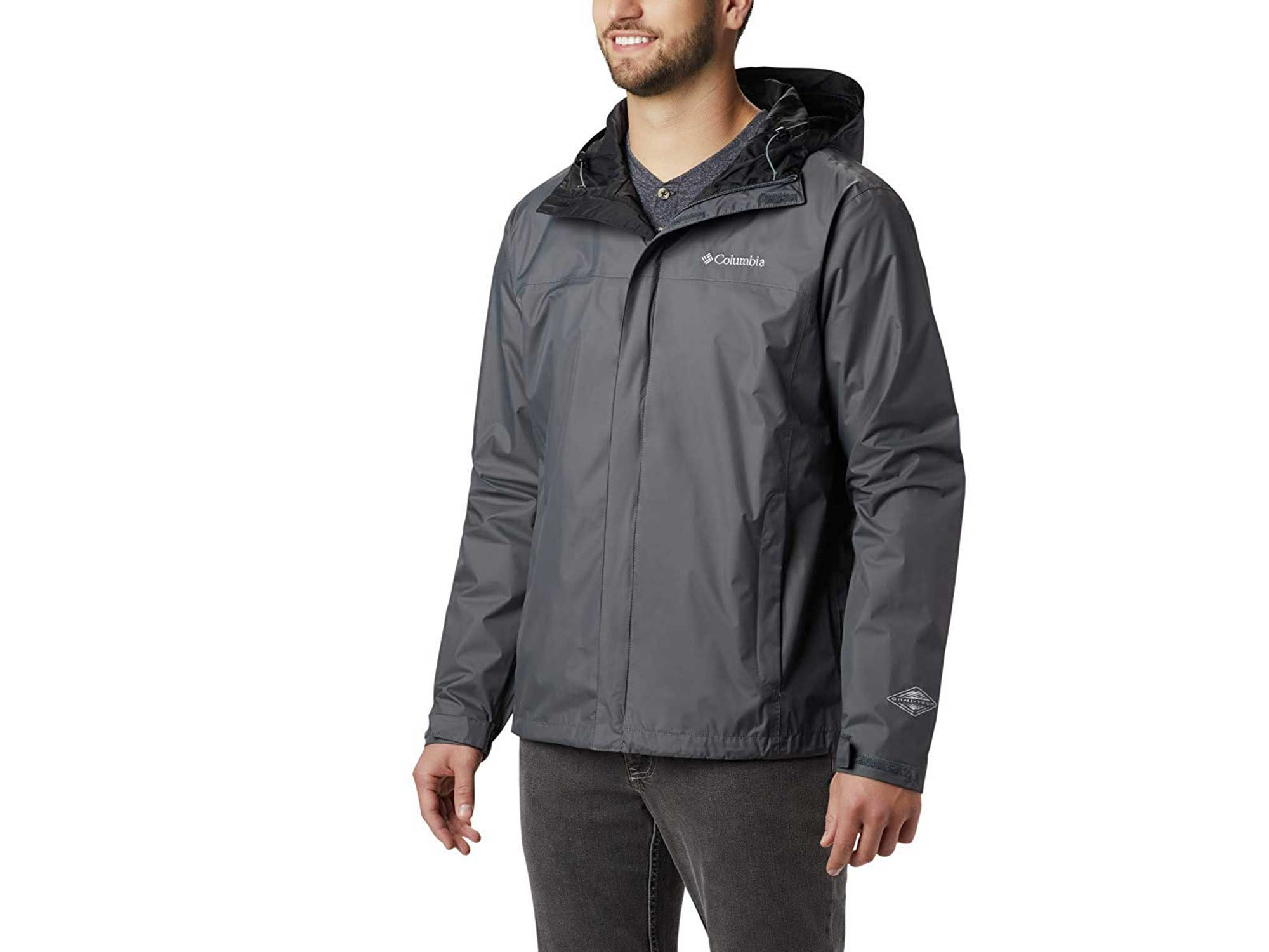 Man wearing grey Columbia rain jacket