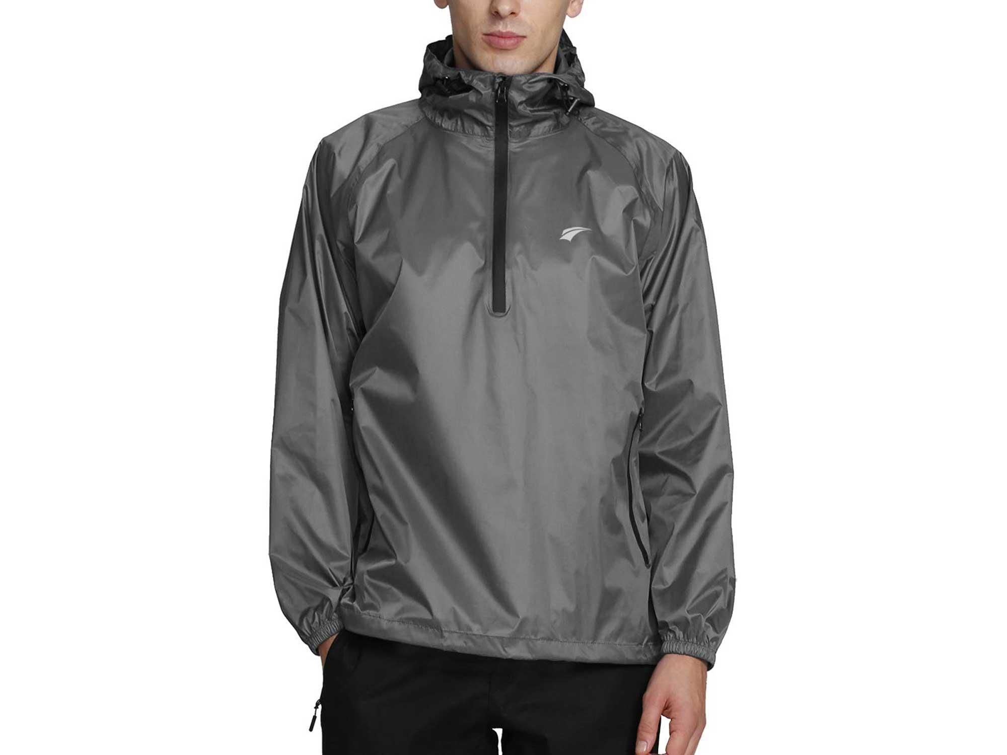 Man wearing EZrun lightweight waterproof jacket