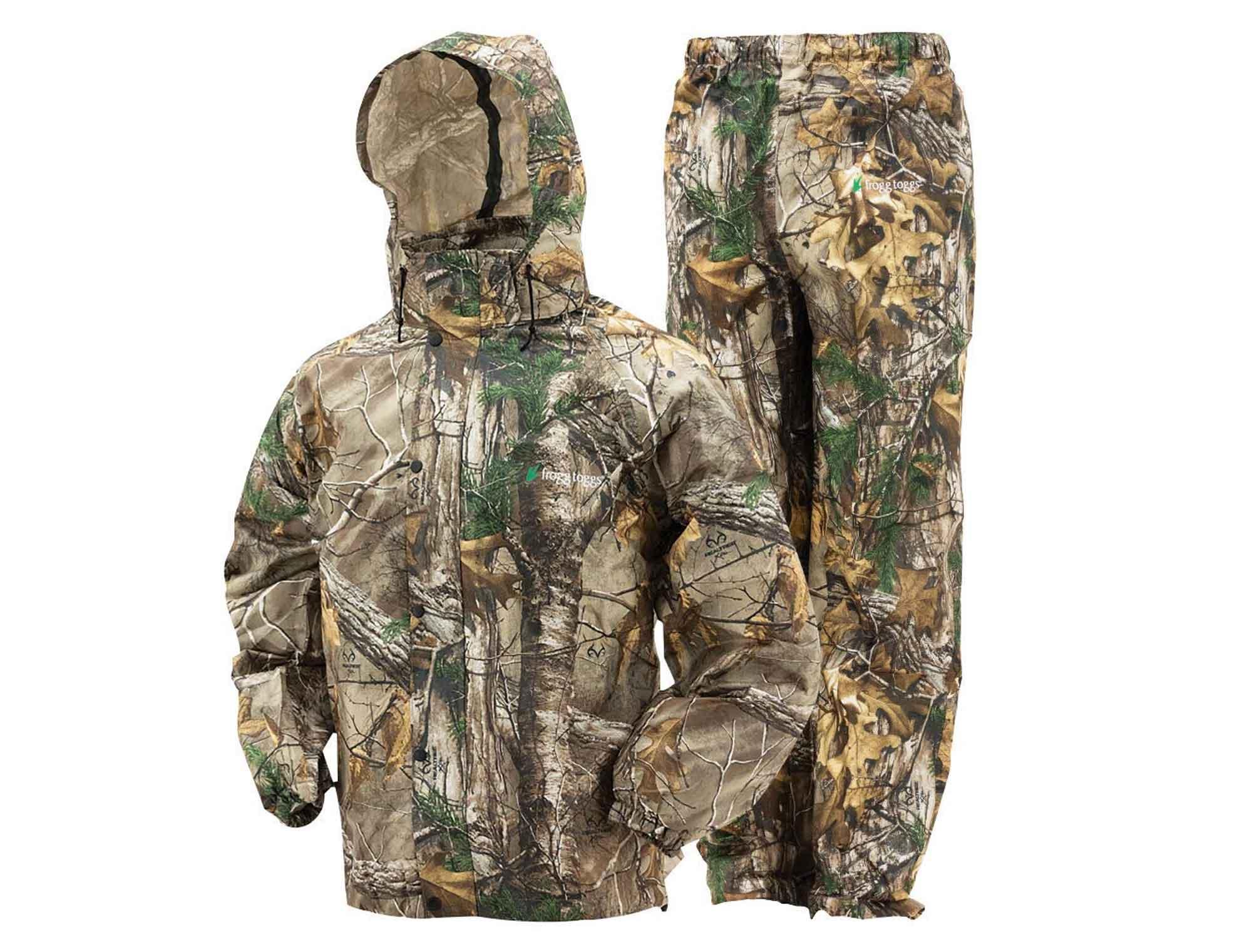 Camouflage rain suit