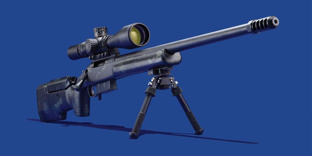 GA precision rifle on a blue background.