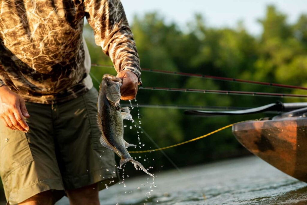Cody Wade gets ready to release another shoal bass on the Flint River.