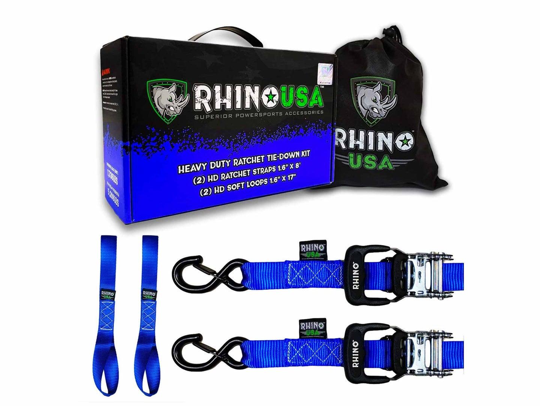 Rhino blue motorcycle ratchet straps