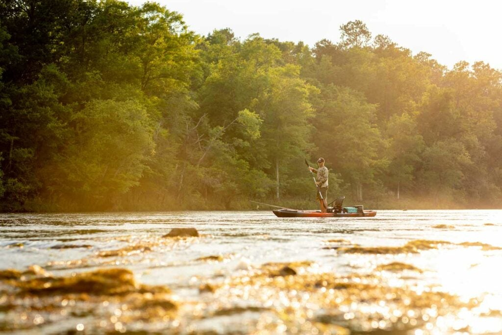 Cody Wade paddles through a sunny stretch of the Flint River, in Georgia.