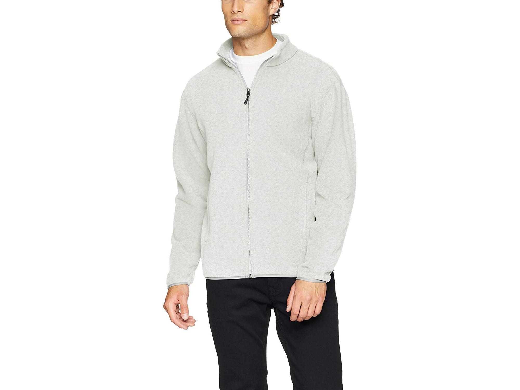 Man wearing fleece jacket from Amazon Essentials