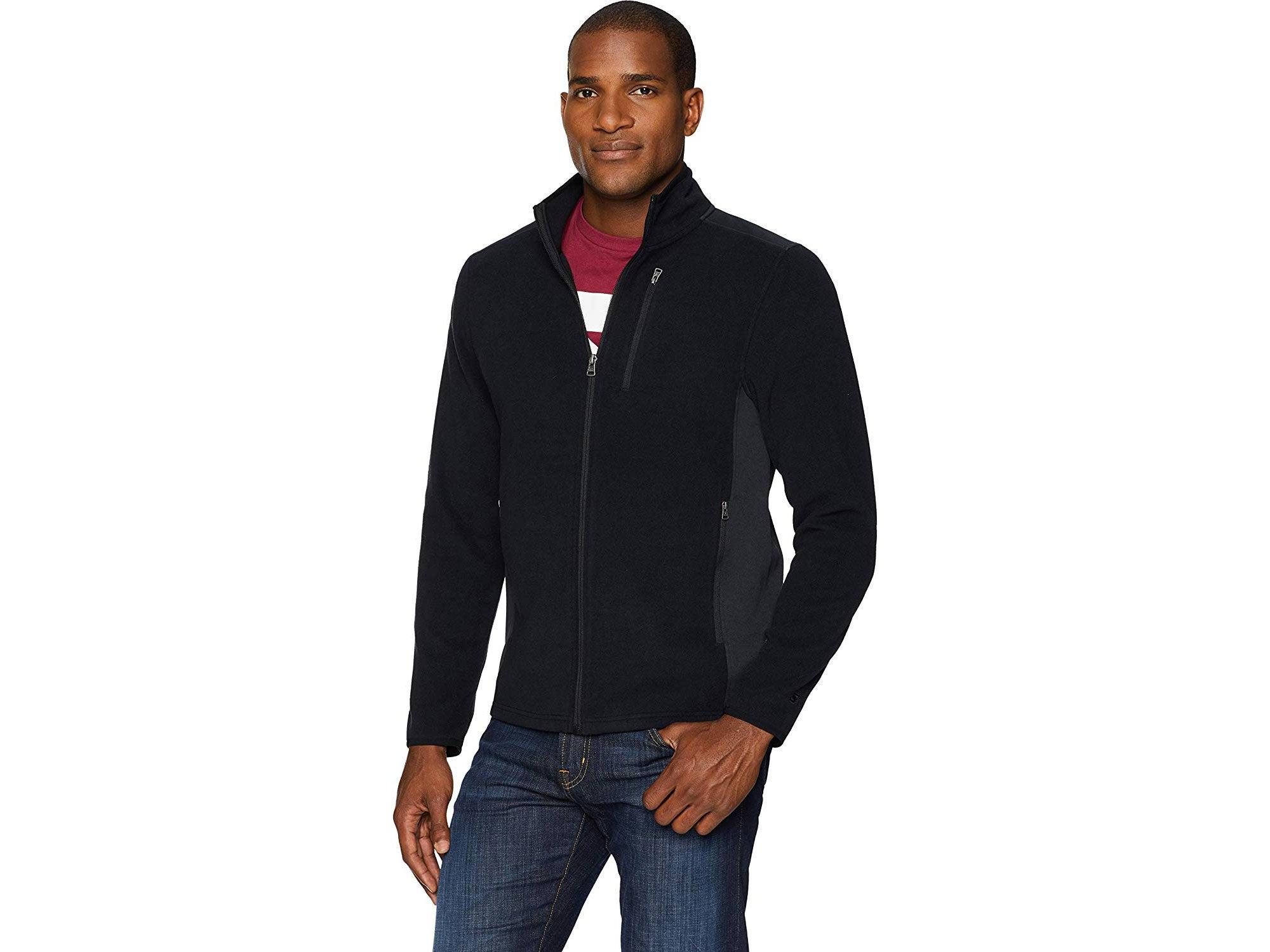 Man wearing Starter fleece jacket