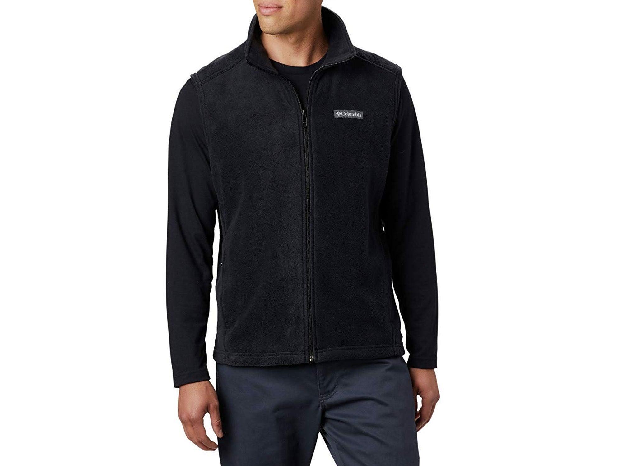 Man wearing Columbia fleece jacket