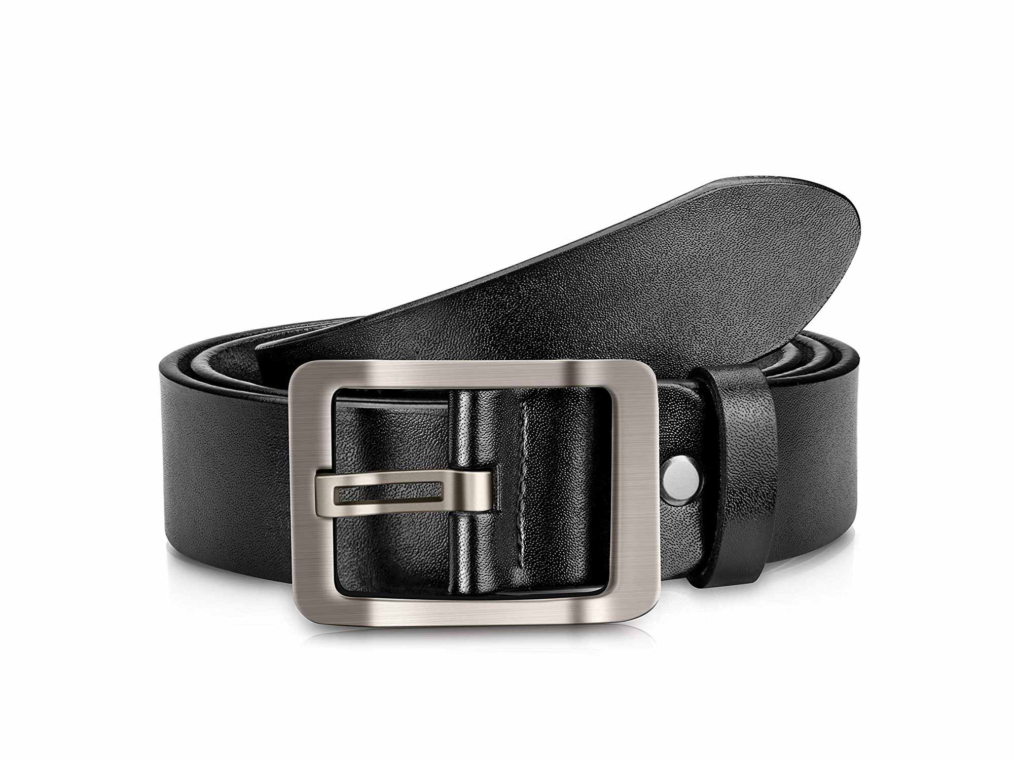 OVEYNERSIN Genuine Leather Causal Dress Belt for Men with Classic Single Prong Buckle