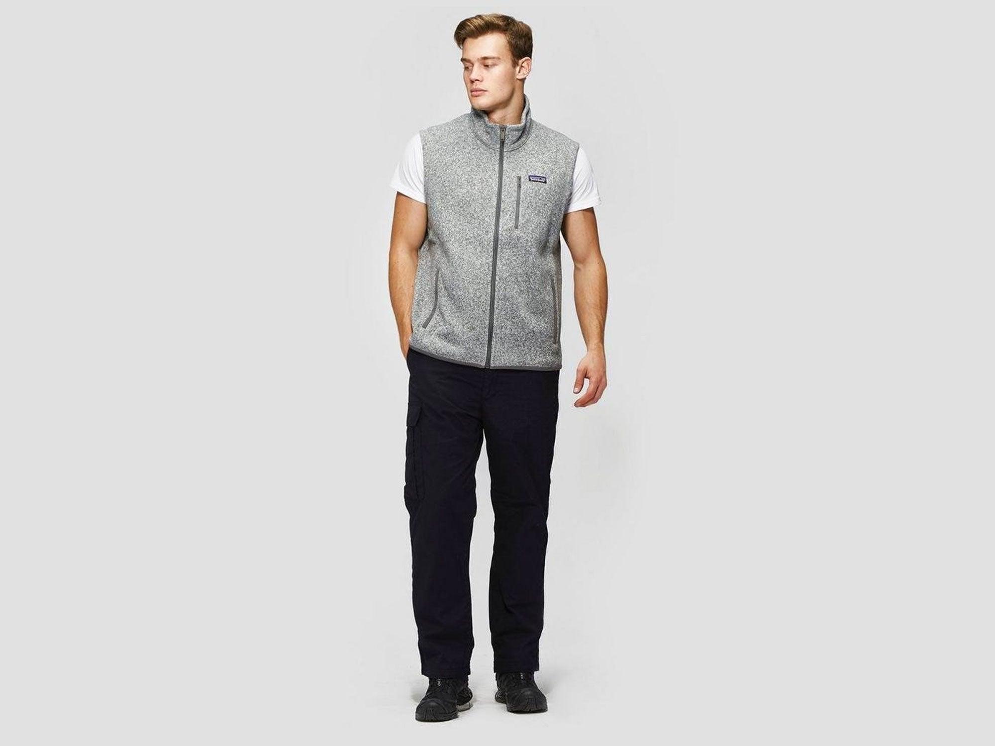 Man wearing light grey Patagonia fleece vest