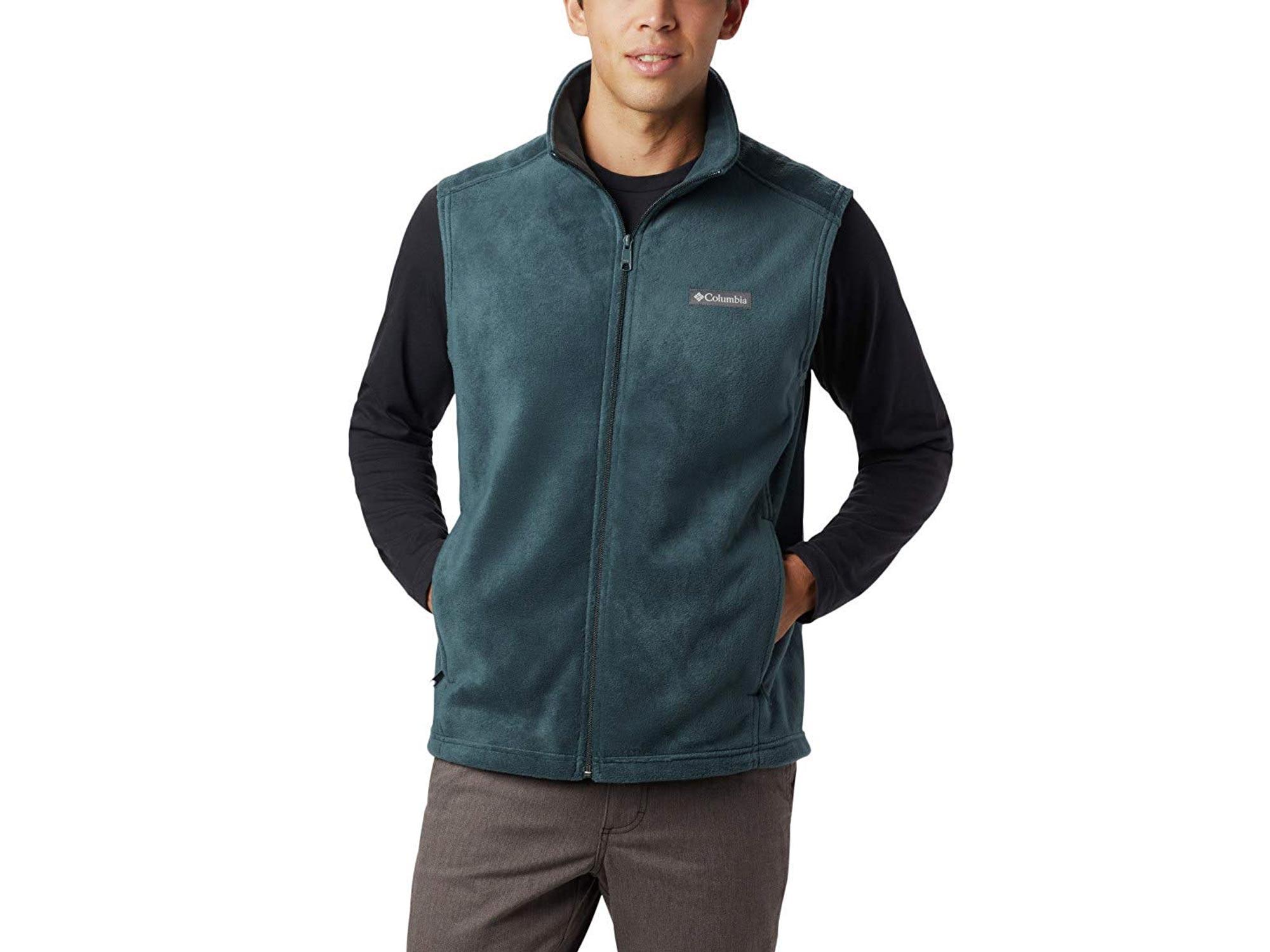 Man wearing green Columbia fleece vest