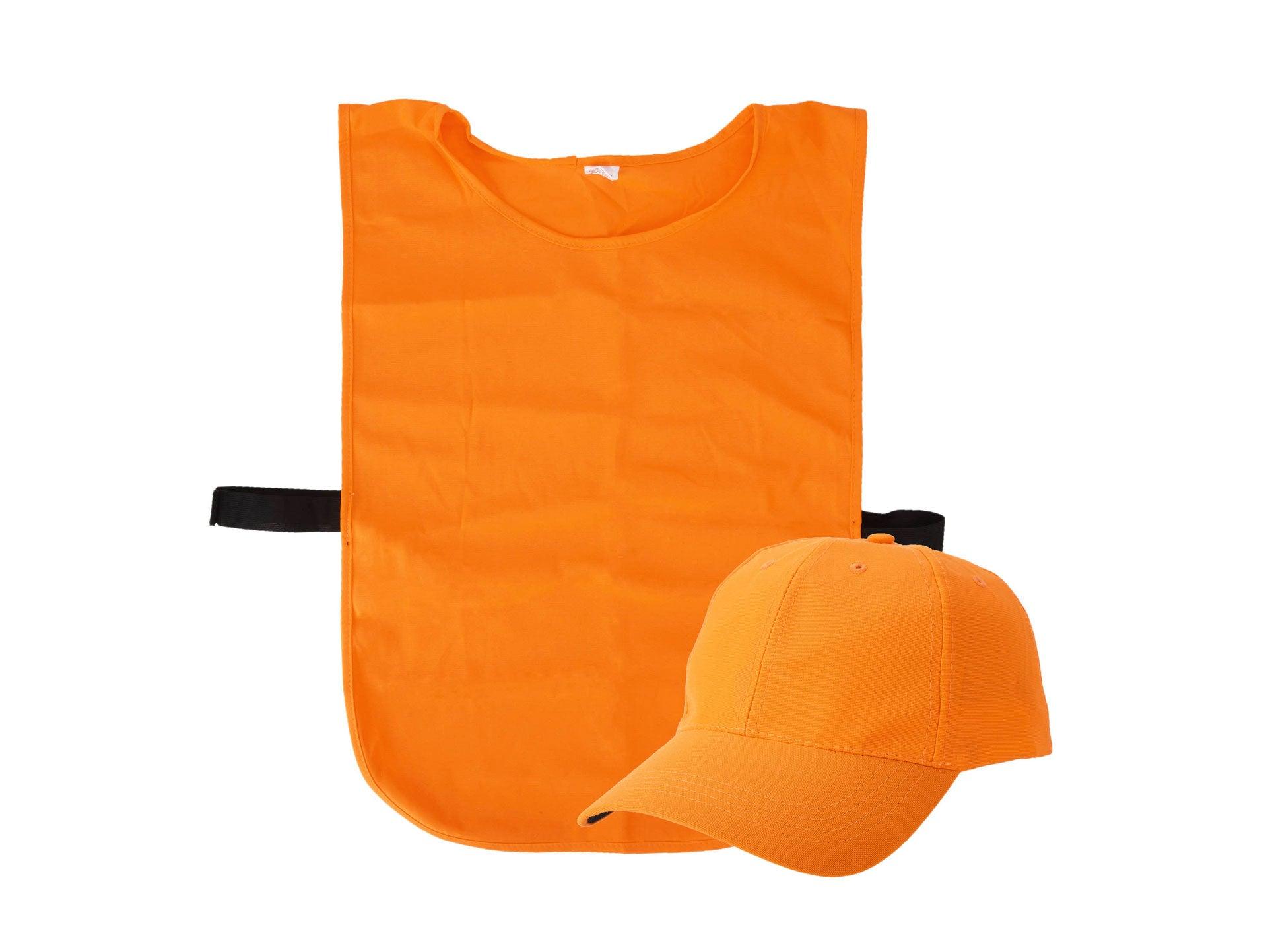 Blaze orange vest and hat