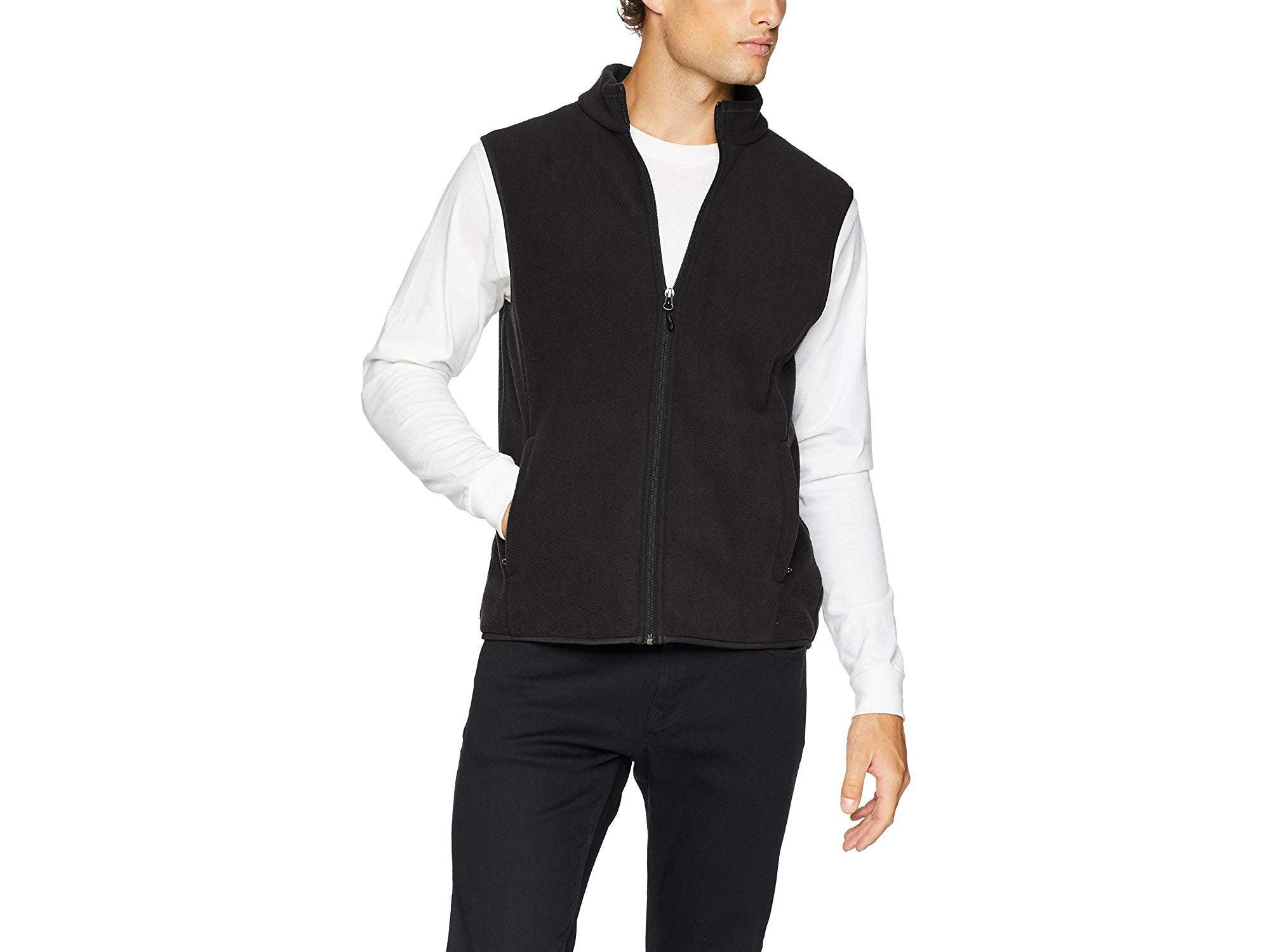 Man wearing black fleece vest