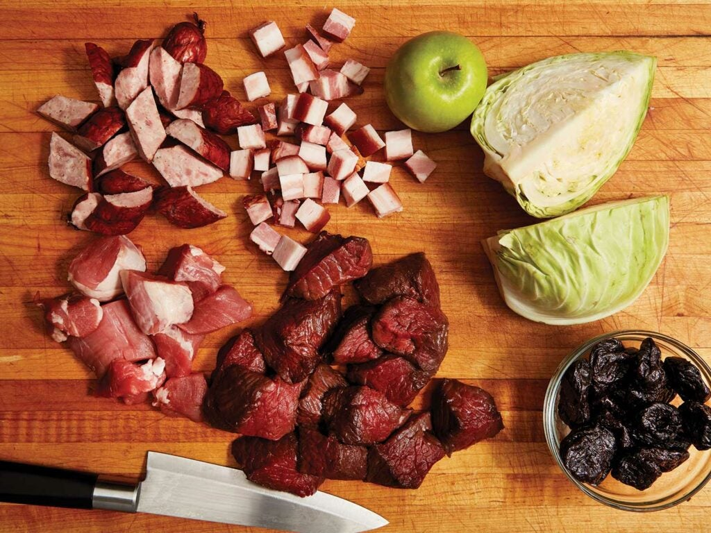 chopped ingredients for polish hunter stew