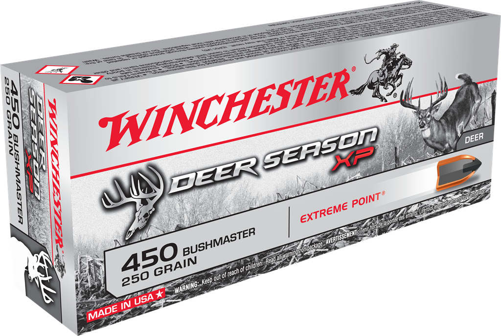 box of winchester deer hunting ammo in 450 bushmaster
