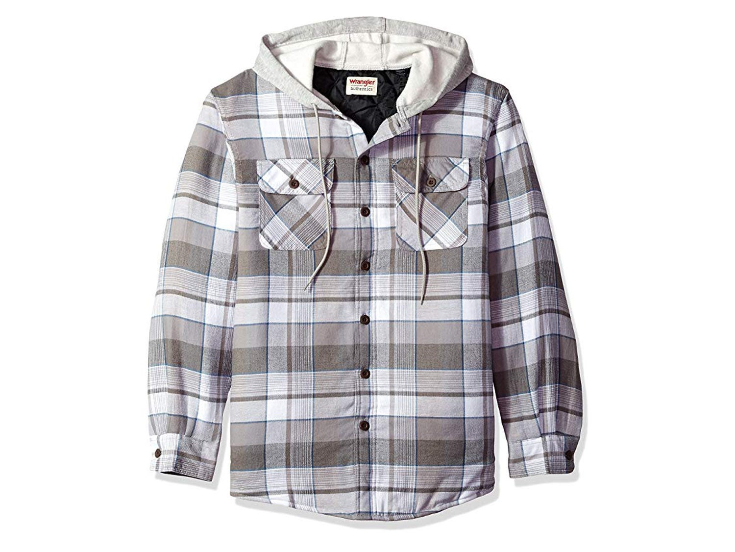 Wrangler Authentics Men's Long Sleeve Quilted Line Flannel Jacket with Hood