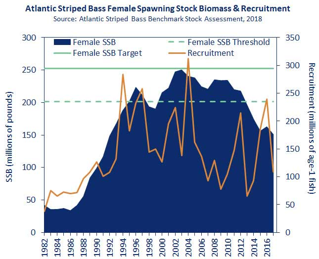 The rising and falling stock of fertile females since 1982, from the 2018 Stock Assessment Survey.