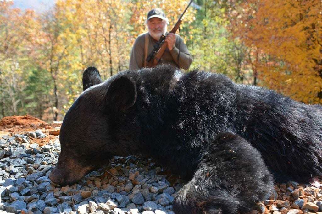 hunter with a giant black bear