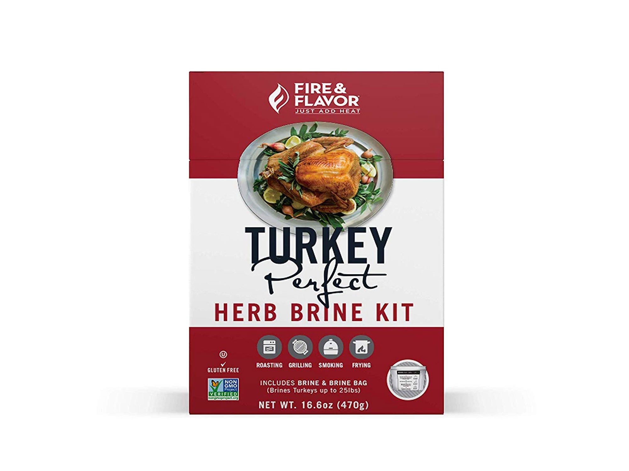 Fire & Flavor turkey brine kits are available in apple sage, Cajun, and herb flavors.