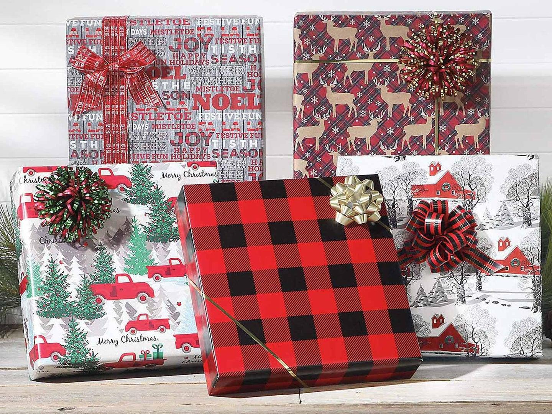 Presents behind wall backdrop
