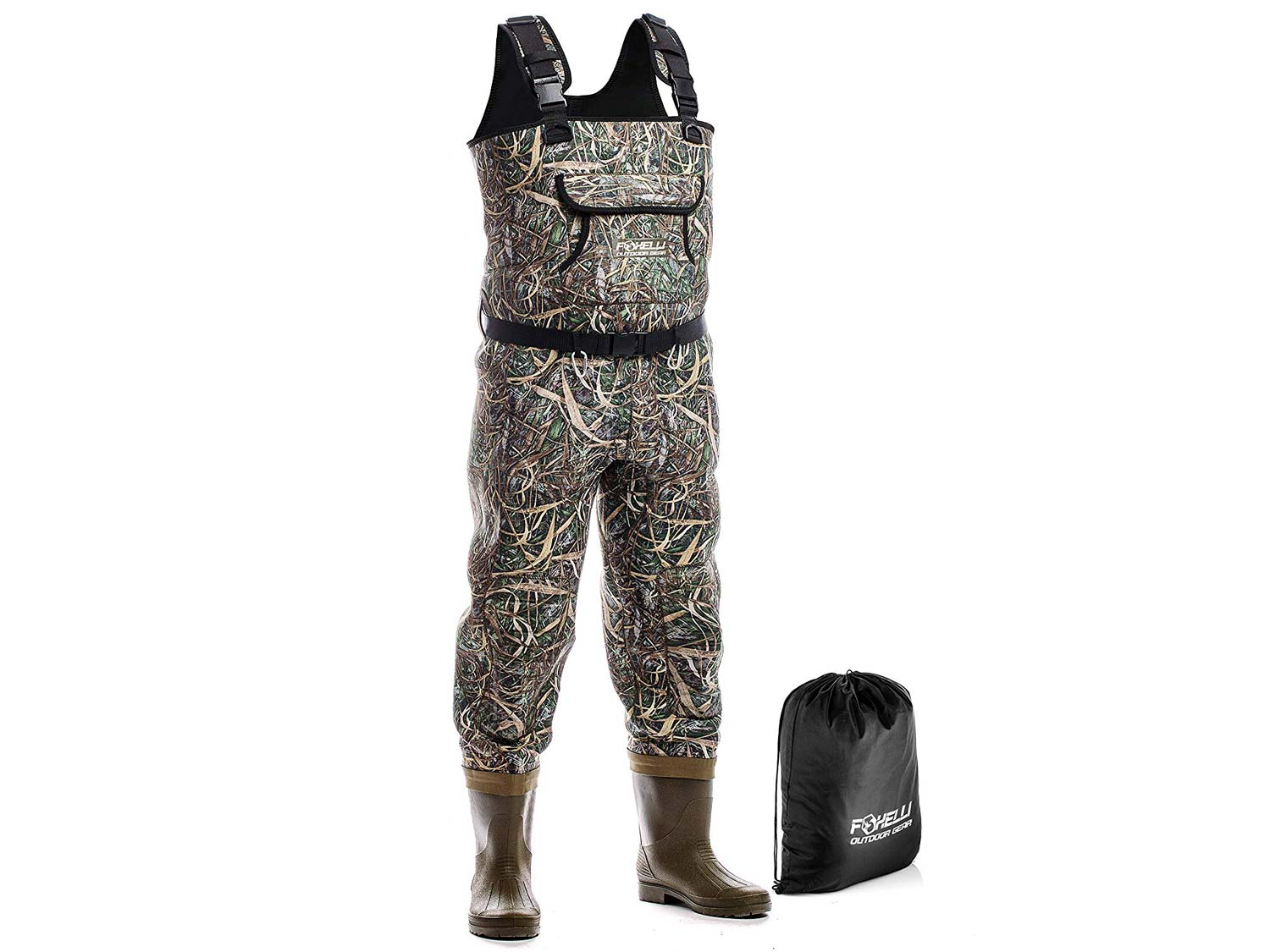 Foxelli Neoprene Chest Waders – Camo Fishing Waders for Men with Boots