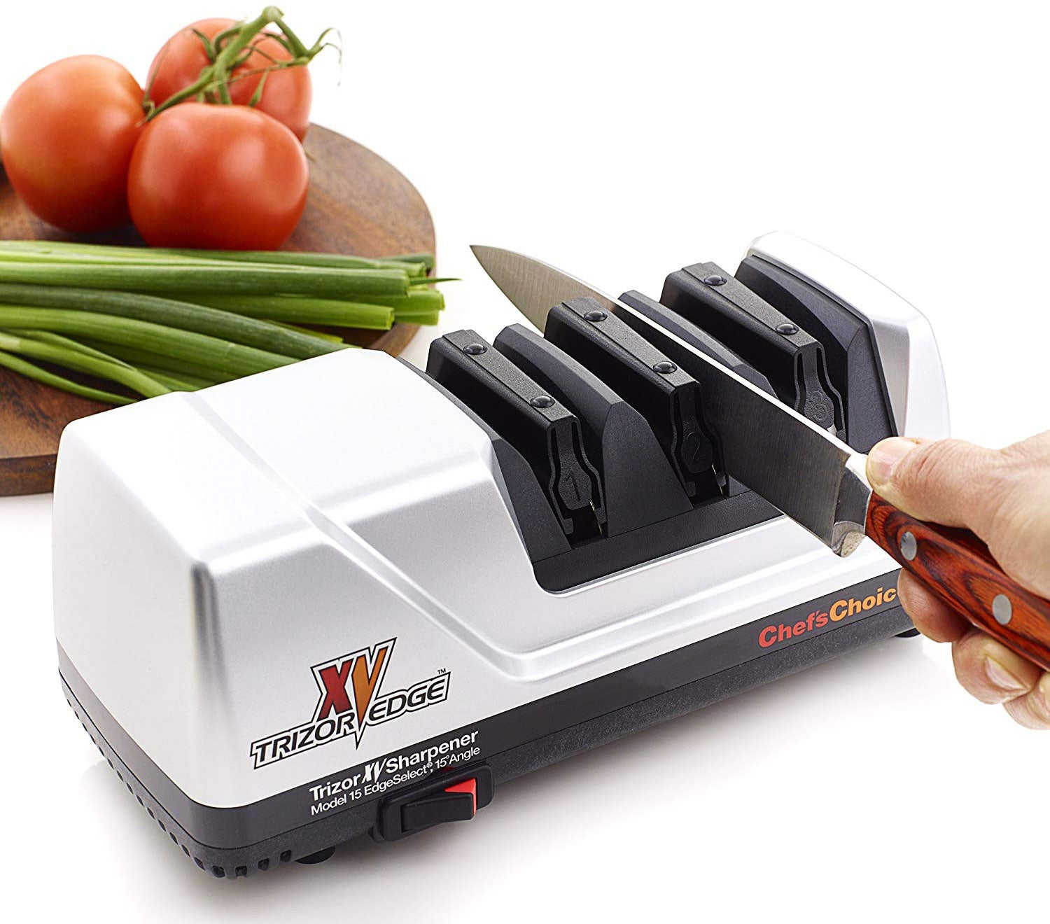 An electric sharpener is a great solution if someone doesn't know how to properly use sharpening stones to hone a blade.