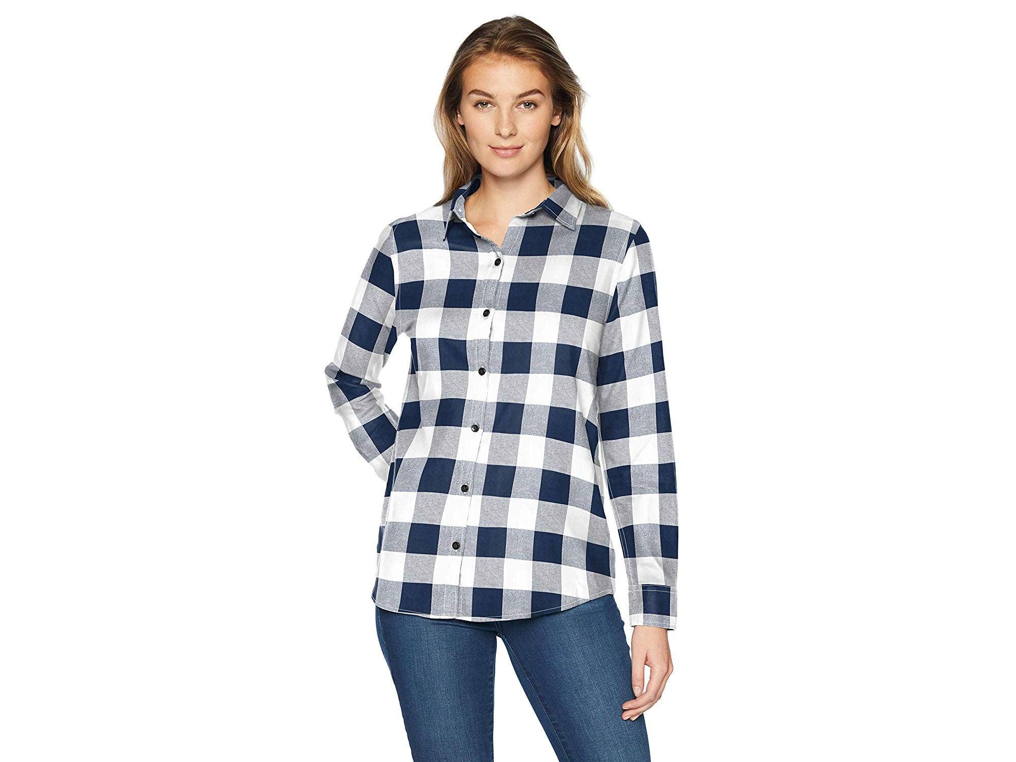 Amazon Essentials Women's Classic-Fit Long-Sleeve Lightweight Plaid Flannel Shirt