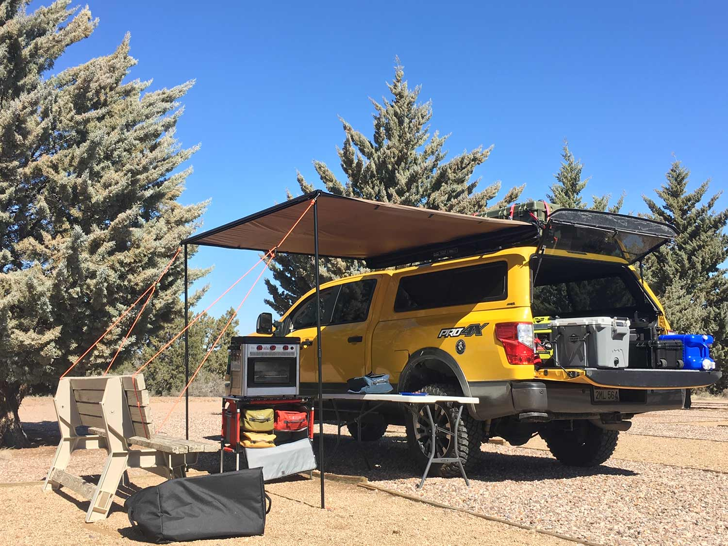 A truck turned into a mobile hunting camp.
