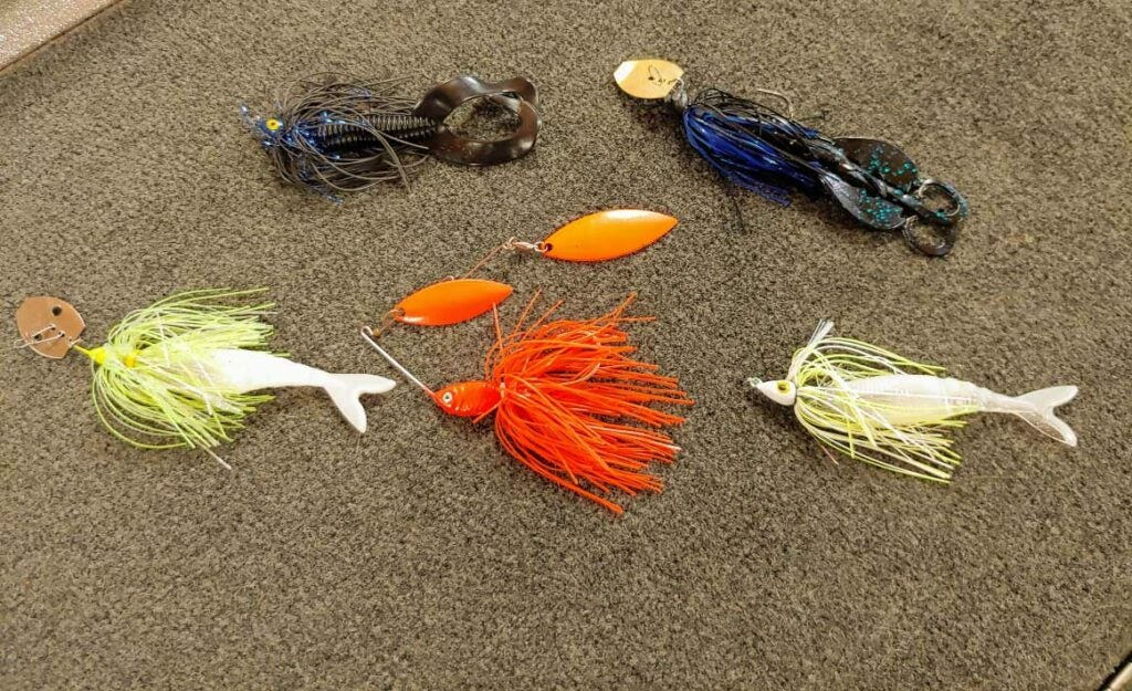 a collection of assorted bass fishing lures.