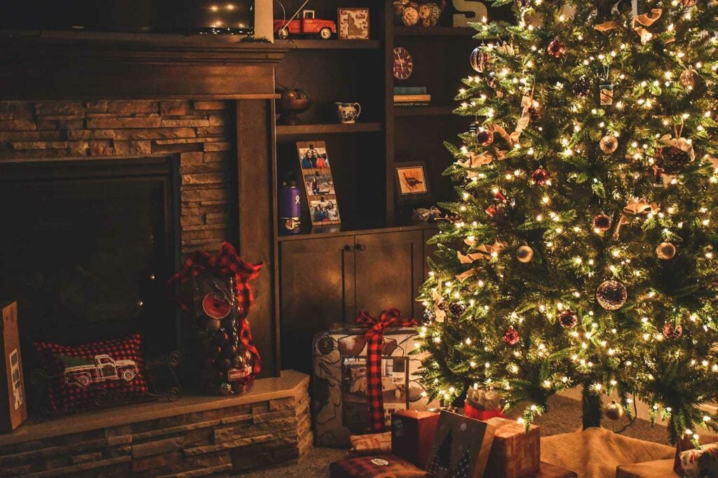 a family home christmas setup