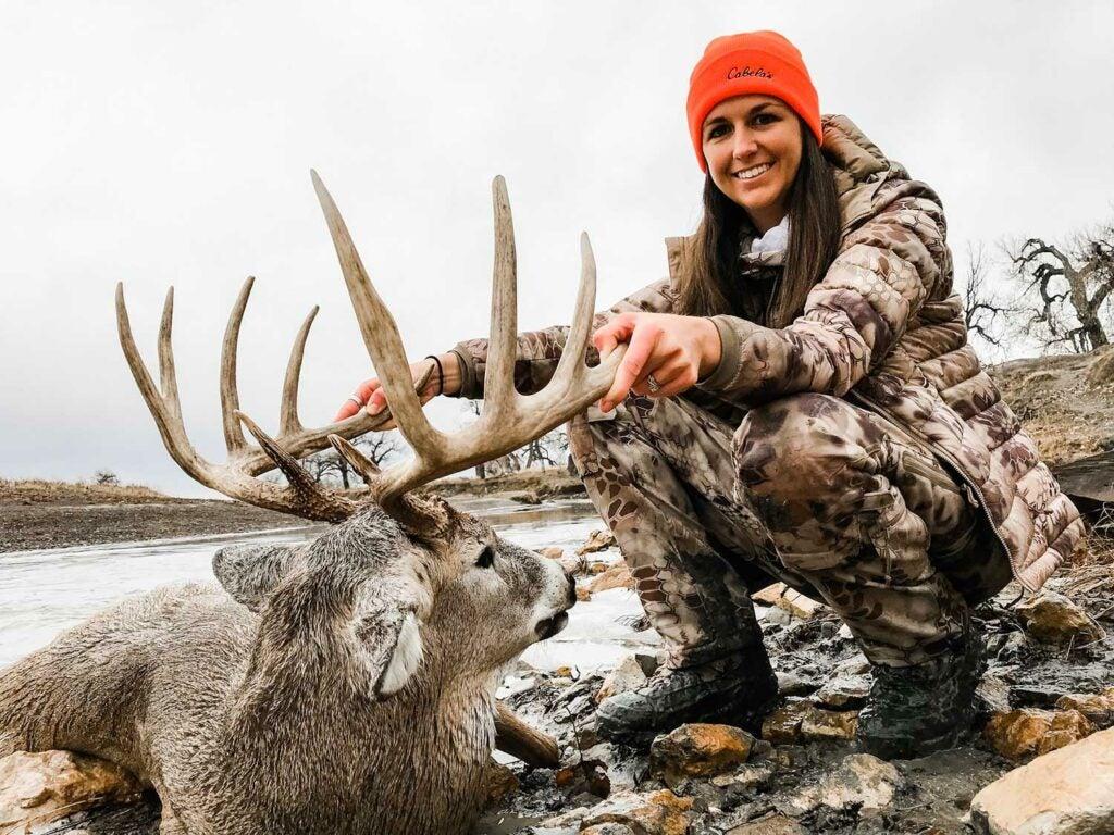 Mariah Theel made a perfect 300-yard shot on this dandy South Dakota buck.
