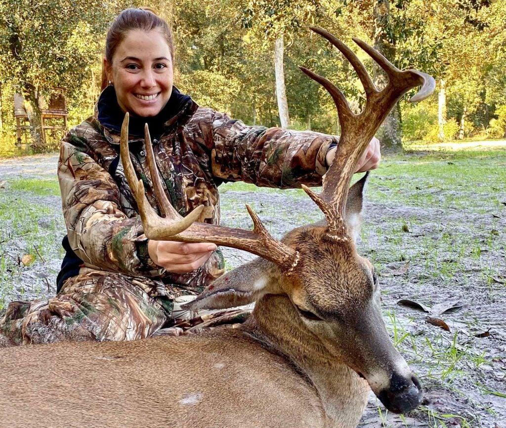 Felicia Halley's symmetrical 10-point Florida buck has a 17-inch inside spread.