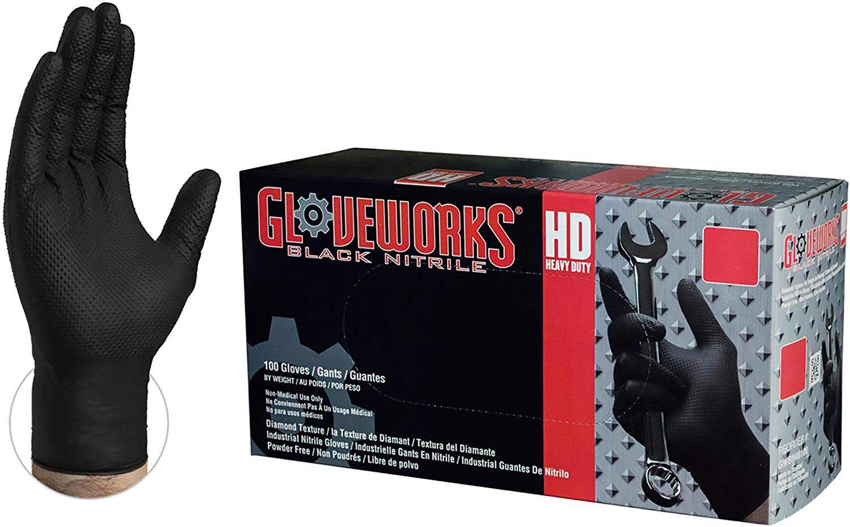GLOVEWORKS HD Industrial Black Nitrile Gloves