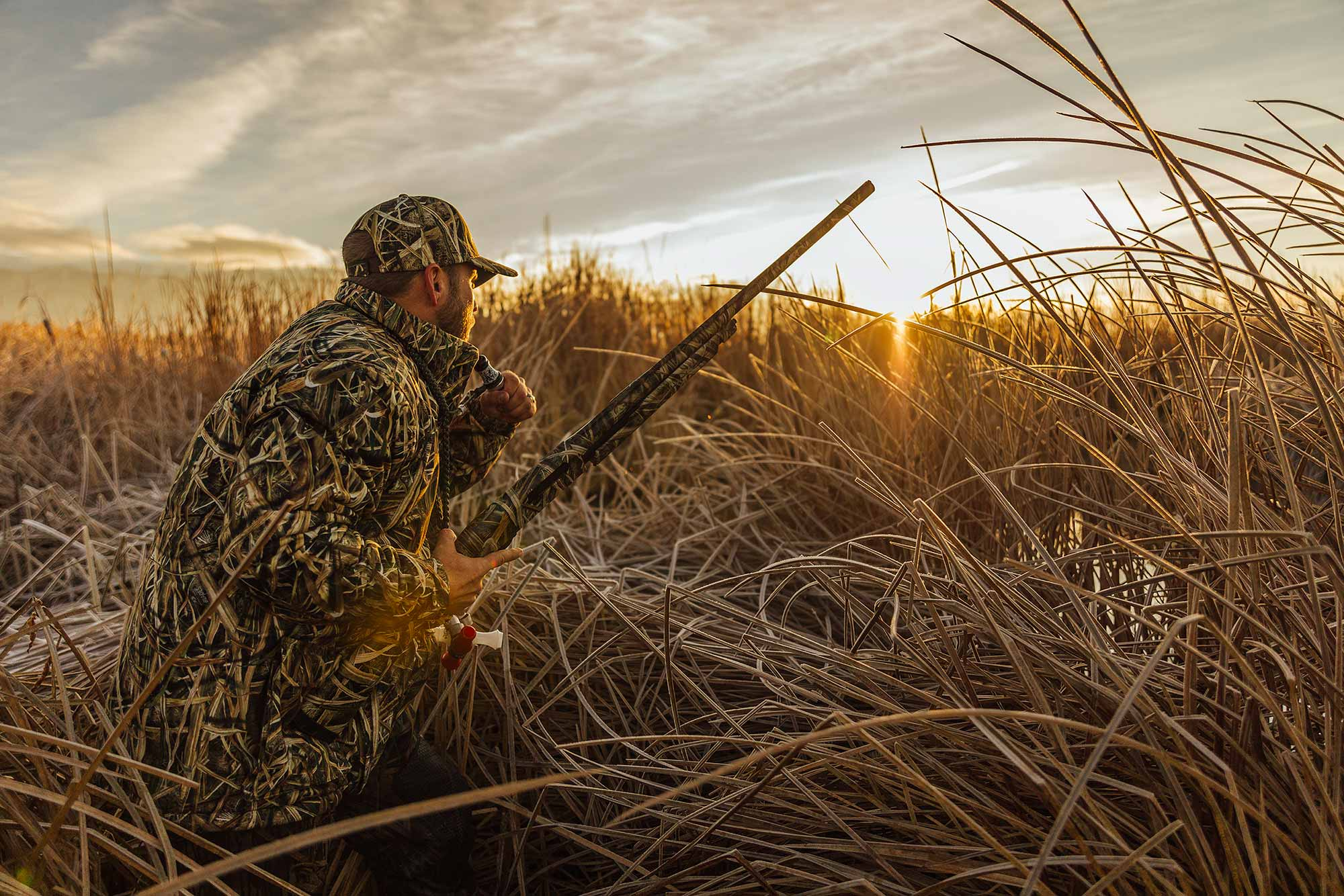 A late-season hunter hides in frosted cattails, waiting for ducks at sunrise.