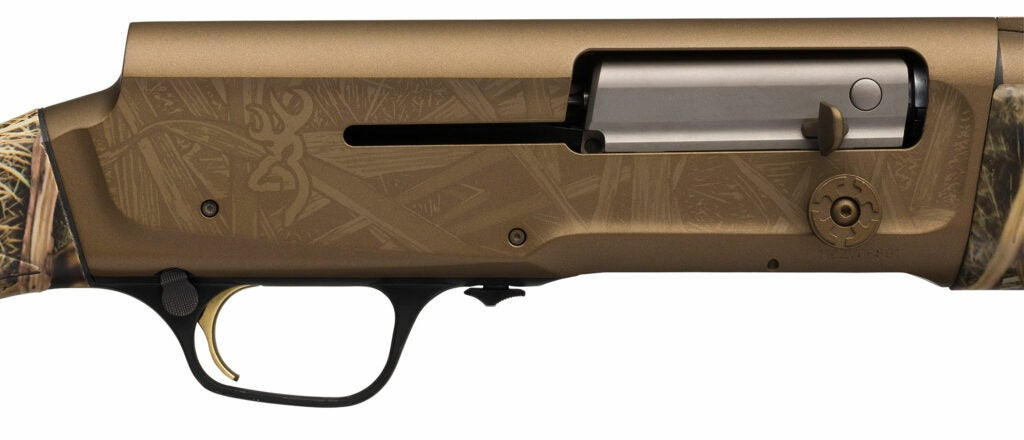 The enlarged bolt release on a Browning A5 Wicked Wing is easier to work with gloved hands.