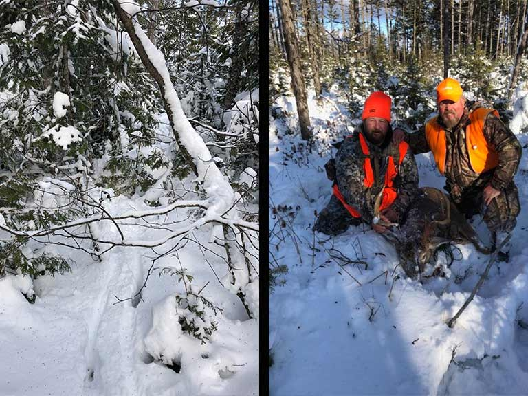 hunting guide tracking buck in snow.