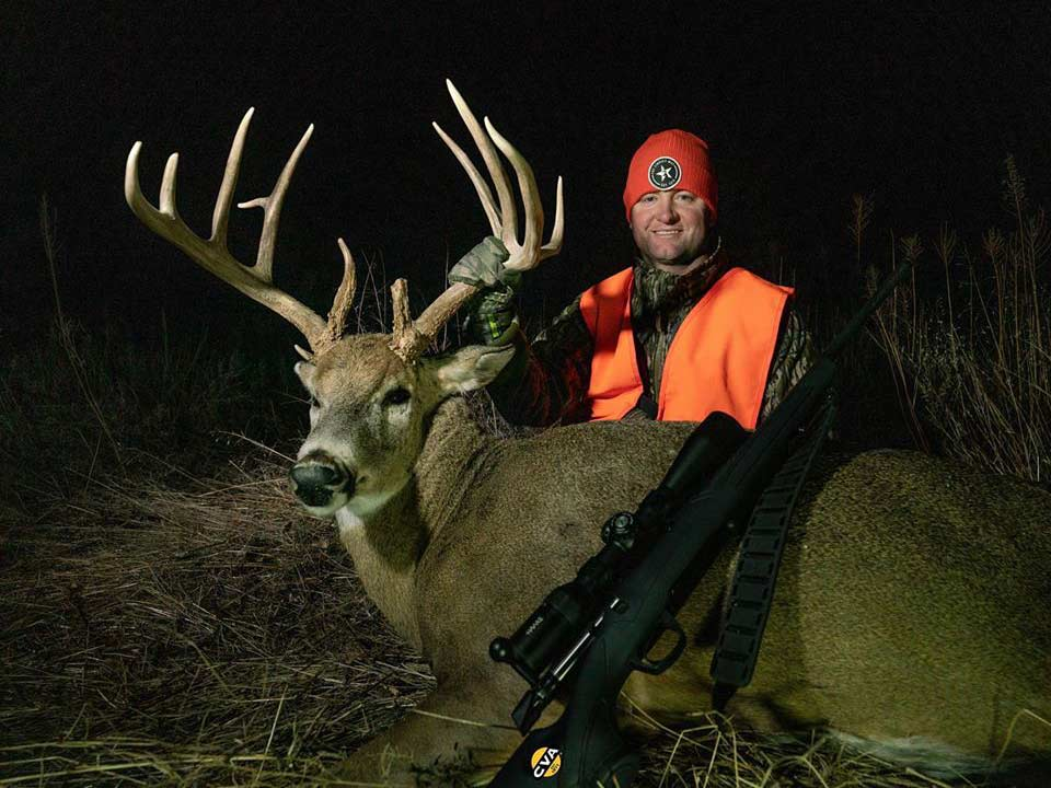 Jeff Lindsay tagged this heavy-racked buck with the sun setting on the Kansas rifle season.