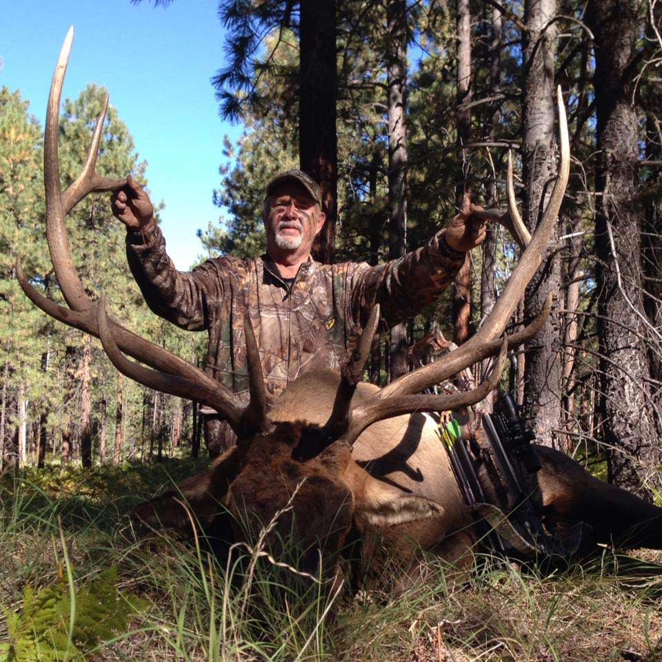 Hunter kneeling behind elk.