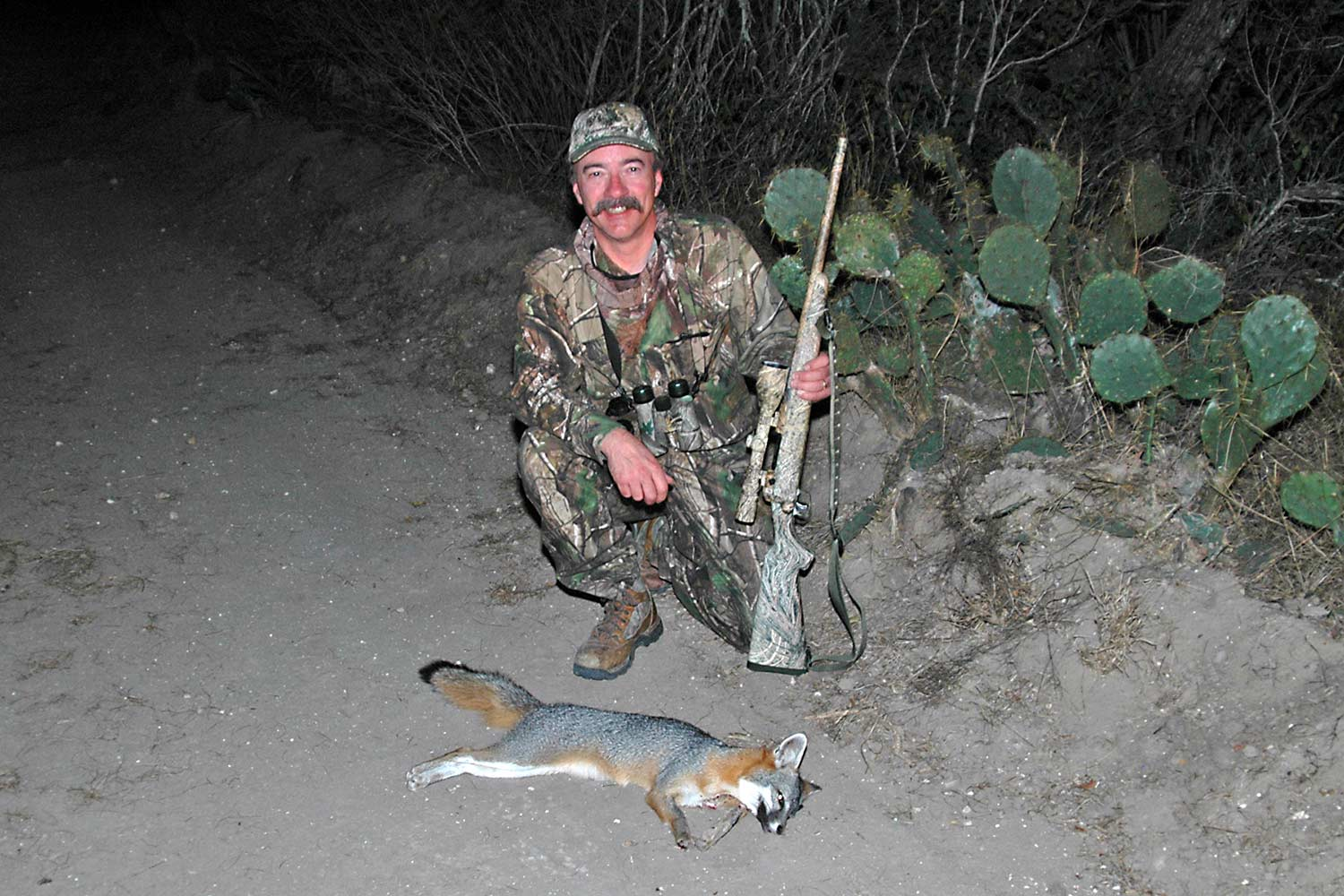 Mike Dickerson collected this gray fox in Texas using a Savage rifle chambered for the round.