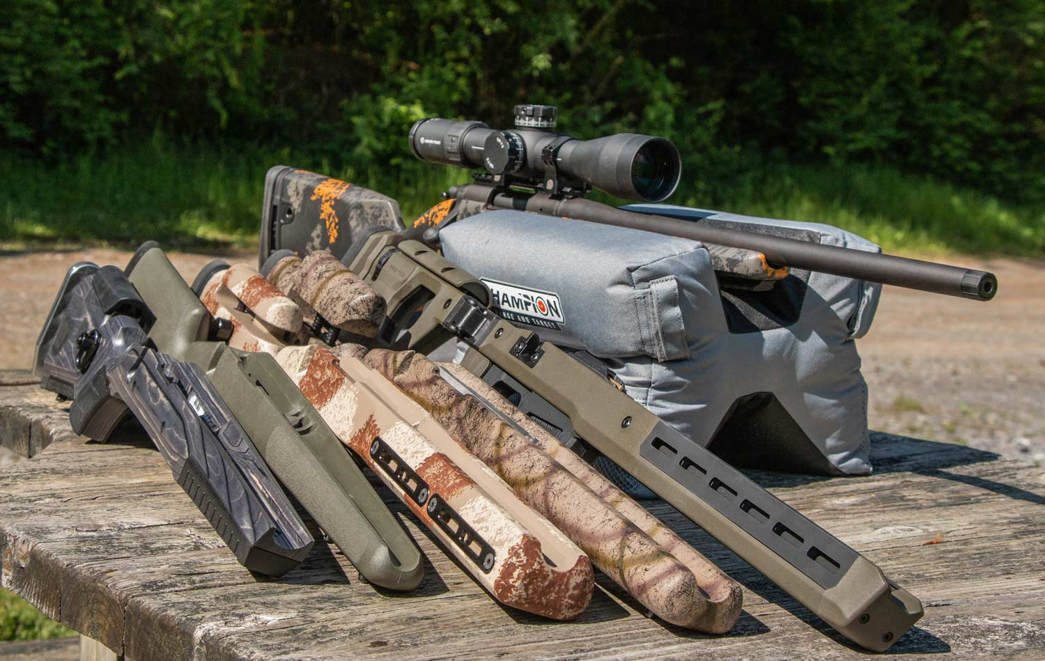 A lineup of aftermarket rifle stocks
