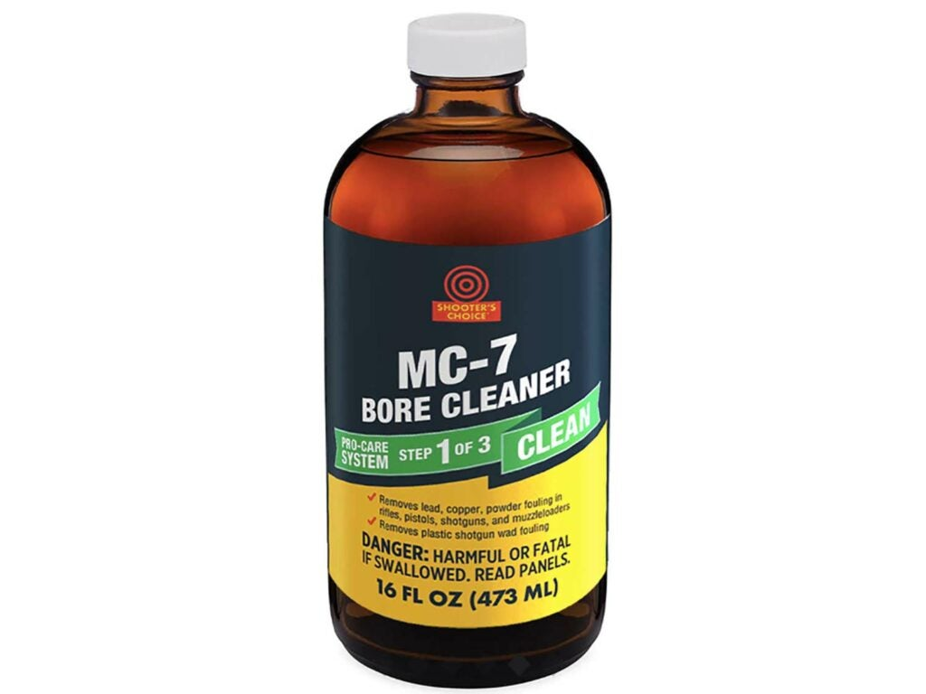 The author uses Shooter' Choice MC#7 Bore Cleaner to remove powder fouling.