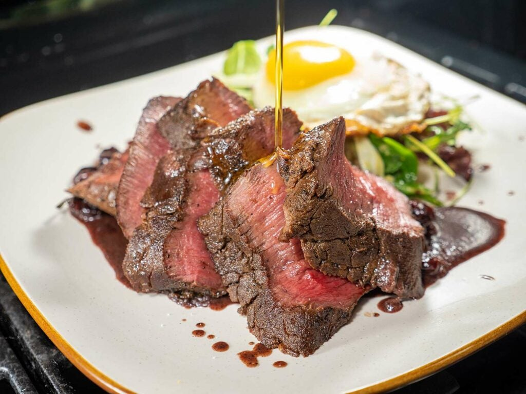 A drizzle of olive oil or some compound butter never hurt to finish a piece of venison.