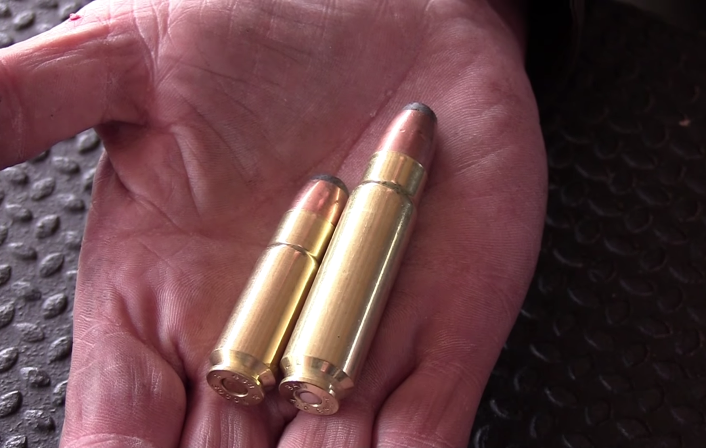 The 475 Bishop (right) next to a .458 SOCOM (left).