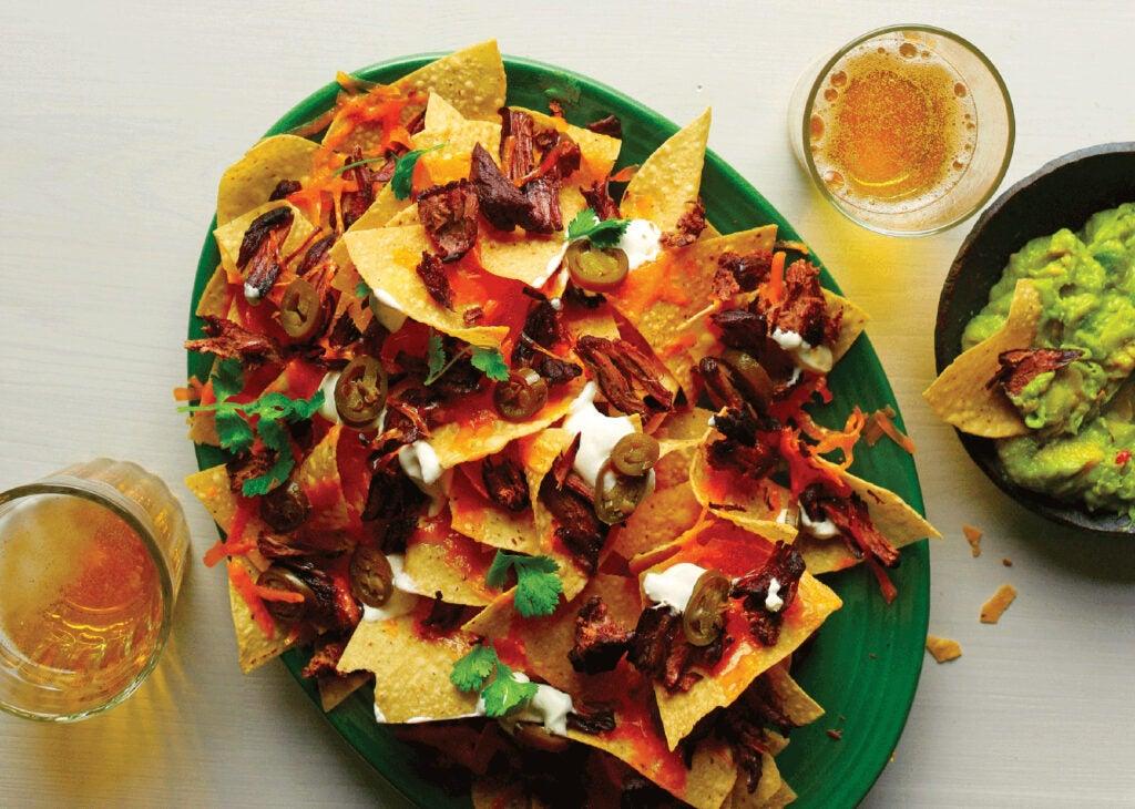 Venison carnitas nachoes.