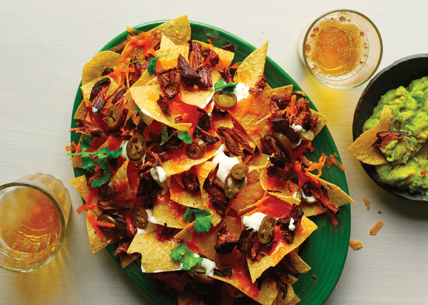 Venison carnitas nachoes.
