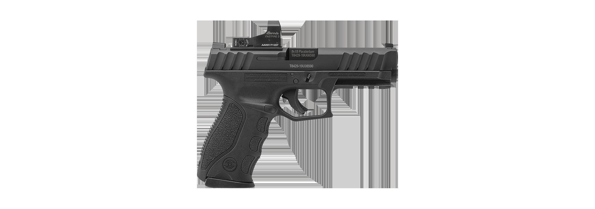 9mm handgun with red dot sight.